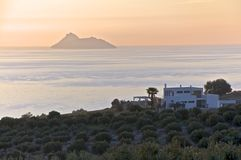 Crete. Villa in the olive grove at sundown Stock Photo