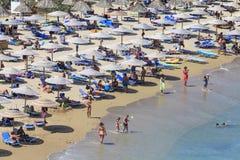 Crete wyspa, palma plażowy Vai Grecja, Sierpień, - 24, 2015 ludzie Zdjęcia Stock
