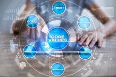 Creusez les affaires de valeurs et le concept de technologie sur l'écran virtuel photo libre de droits