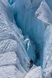Into the crevasse. Exploring on Matanuska Glacier in Alaska Stock Image