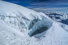 Crevasse on Huayna Potosi Stock Photo