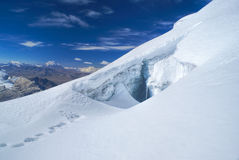 Crevasse on Huayna Potosi Stock Photo
