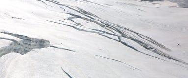 Crevasses in Aletsch glacier in Jungfrau region Royalty Free Stock Images