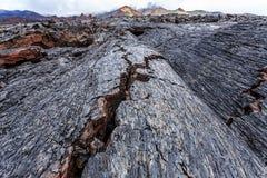 Crevasses in barren lava fields Royalty Free Stock Photos