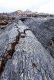 Crevasses in barren lava fields Stock Photo