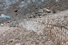 Crevasses in glacier Stock Photo