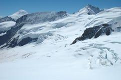 Crevasses, ice and snow nearby Jungfraujoch in Switzerland Stock Photo