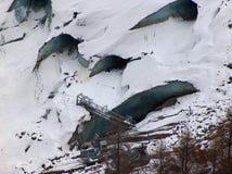 Crevasses. On mer de glace glacier,Chamonix royalty free stock photography