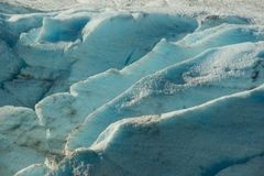 Crevasses in Portage Glacier. Showing the deep blue of compact ice Royalty Free Stock Photo