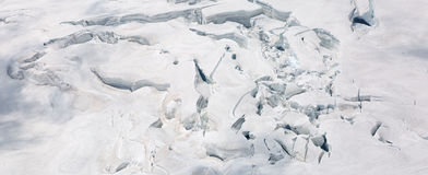 Crevasses on the slope of jungfrau and  Rottalhorn mountains in Jungfrau regio Royalty Free Stock Photography
