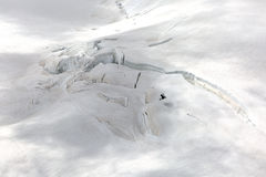 Crevasses on the slope of jungfrau and  Rottalhorn mountains in Jungfrau regio Stock Images