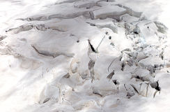 Crevasses on the slope of jungfrau and  Rottalhorn mountains in Jungfrau regio Royalty Free Stock Images