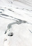 Crevasses on the slope of monch and Trugberg mountains in Jungfrau region Royalty Free Stock Photo
