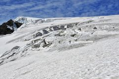 Crevasses on the Stockji glacier. Crevasses on the high altitude Herens Pass at the head of the Stockji glacier in the Swiss Alps. In the distance the summit of Royalty Free Stock Photos