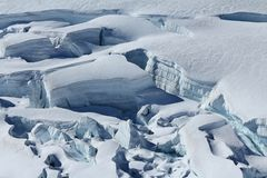 Crevasses with visible layers of ice. Stock Images