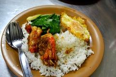 Crevette avec l'ail et l'oeuf au plat sur le riz Photographie stock libre de droits