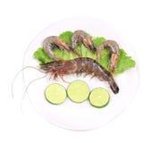Crevette crue du plat. Photographie stock libre de droits