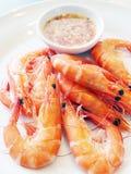 Crevette cuite à la vapeur thaïe Images libres de droits