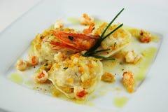 Crevette de witih de ravioli Image libre de droits