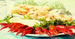 Crevette et écrevisses cuites sur la fin de plat  Images libres de droits