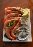 Crevette et huîtres Photographie stock libre de droits