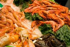 Crevette et langoustine fraîches au marché photo libre de droits