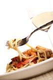 Crevette et pâtes Photo libre de droits