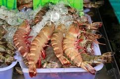 Crevette fraîche sur la glace au marché en Thaïlande Image stock