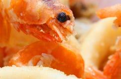 Crevette frite avec la macro lentille et d'autres poissons frits Image libre de droits