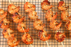 Crevette Kebabs de Teriyaki de gingembre Photographie stock libre de droits
