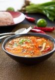 Crevette rose aigre et épicée de potage [kung thaï de Tomyum] Photo libre de droits