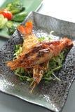 Crevette rose cuite à la friteuse Images libres de droits