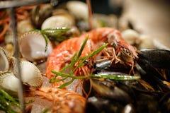 Crevette rose dans le plat de fruits de mer Photos libres de droits