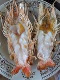 Crevette rose de rivière géante grillée photos stock
