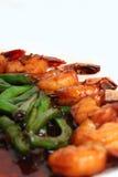 Crevette rose et longs haricots Image stock