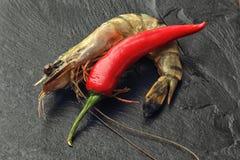 Crevette rose et piment géants Image libre de droits