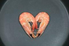 Crevette rose préparée dans le carter Photos libres de droits