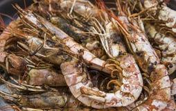 Crevette royale grillée appétissante Gril de fruits de mer sur le fourneau, sur le marché de nourriture de rue images stock