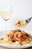 Crevette Scampi avec des pâtes Image stock