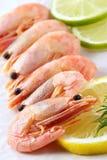 Crevettes assaisonnées par le citron et la limette Photos stock