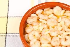 Crevettes avec l'ail Images stock