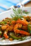 Crevettes avec le concombre Photos stock