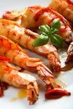 Crevettes avec le /poivron photo libre de droits