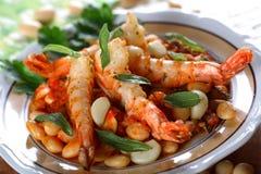 Crevettes cuites avec l'haricot Image libre de droits