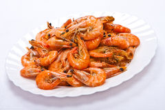 Crevettes cuites de plaque Photo stock