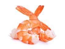 Crevettes d'isolement sur le blanc Photographie stock libre de droits