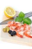 Crevettes d'isolement sur le fond blanc Photographie stock