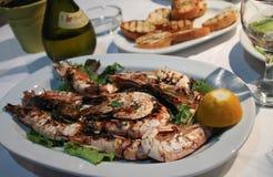 Crevettes d'un plat Image libre de droits