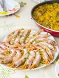 Crevettes d'une plaque Photo libre de droits