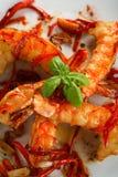 Crevettes de four avec le /poivron photographie stock